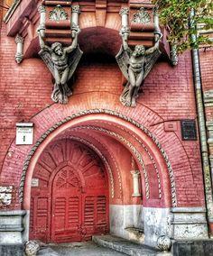 winged guards arched door in Kiev, Ukraine Cool Doors, Unique Doors, Portal, Entrance Doors, Doorway, Grades, Door Gate, Door Knockers, Stairways