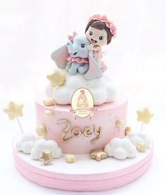 This Dumbo Cake Is So Adorable! - Dumbo - first birthday cake-Erster Geburtstagskuchen 1st Birthday Cake For Girls, Cute Birthday Cakes, 17th Birthday, Dumbo Cake, Healthy Birthday Cakes, Healthy Cake, Family Cake, Baby Girl Cakes, Shower Bebe