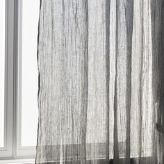 Linen curtain with a dyed grey stripe -    Zara Home United States of America