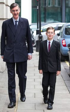 big freak, little freak: Peter Theodore Alfege Rees-Mogg, the youngest son of Jacob Rees-Mogg, accompanies his father to the recording of the Andrew Marr show on Sunday morning in London Jacob Rees Mogg, Landed Gentry, Sons Of Jacob, American Idiot, Picture Day, Rich Kids, Fashion Images, Sailors, Gentleman Style