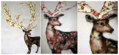 deer felted and applique part 1 of a pair Wool Felt, Felted Wool, Curious Creatures, Wool Applique, Antlers, Paper Goods, Needle Felting, Deer, Whimsical