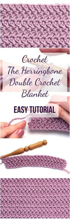 Crochet The Herringbone Double Crochet Blanket Easy Tutorial; video from Hopeful Honey too