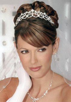 penteado de noiva com franja lateral e coque - Pesquisa Google