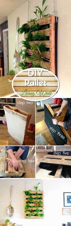 Check out how to make an easy DIY pallet living wall @istandarddesign