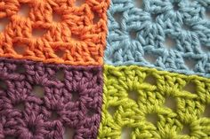How to join together crochet motifs and granny squares using mattress stitch or invisible join.