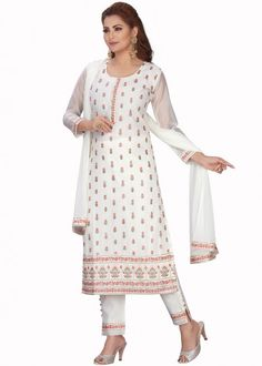 #white #embroidered #readymade #salwar #kameez #traditional #indian #salwar #suit #indianfashion #party #wear #collection #eid #2021 #ootd Readymade Salwar Kameez, Chanderi Suits, Straight Cut Pants, Salwar Suits Online, Organza Saree, Brown Floral, Party Wear Sarees, Festival Wear, Printed Blouse