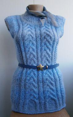 Knitted vest for women. Жилет вязаный Голубой от 2014knitting