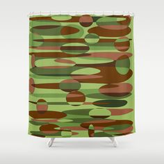 Military Inspired Green and Brown Spheres Shower Curtain by Celeste Sheffey of Khoncepts - $68.00