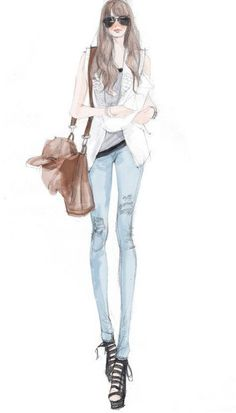 street chic #fashion #illustration ... http://rstyle.me/n/cdmenqmn this could be me, nothing better than jeans and a good satchel or big bag ;)