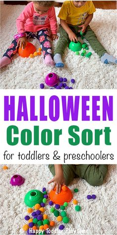 Halloween Color Matching - HAPPY TODDLER PLAYTIME Learn the colors of Halloween in this fun and easy color matching and sorting activity for toddlers and preschoolers. It's a great not so scary Halloween activity for little kids. #halloweenactivities #colorsorting #coloractivities