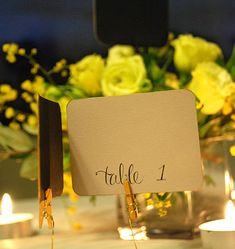 DIY Gilded table numbers