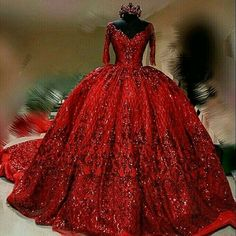 Red wedding dress sequins dress train - Wedding Dress With Sleeves Ball Gowns Prom, Ball Dresses, Red Wedding Gowns, Lace Wedding, Red Gowns, Dress Wedding, Wedding Blog, Trendy Dresses, Formal Dresses