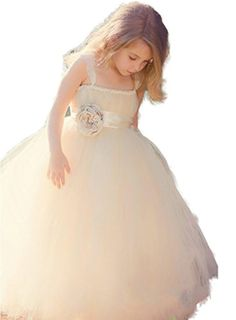 Autoalive Girls' Cinderella Tulle Flower Girl Dress Wedding prom Pageant Girls Dress (8, Champagne) - Brought to you by Avarsha.com