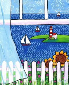 Ocean Window by AliceinParis on Etsy (Art & Collectibles, Prints, duffett, ocean, nova scotia, shelagh duffett, reproduction, illustration, summer, acrylic, painting, window, curtain, blue sky country)
