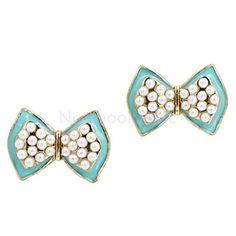 1 Pair Ladies Fancy Cute Blue Bow Knot Earrings Wedding P... http://diamondproguide.com/earring-buying-guide/