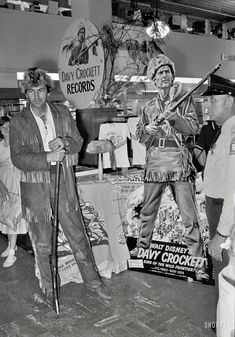 "May 1955. ""Actor Fess Parker on a 22 city promotional tour as Davy Crockett. Includes public appearances at department stores."" From photos by Maurice Terrell for the Look magazine assignment ""Meet Davy Crockett."""