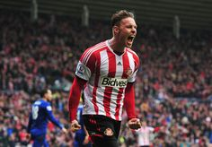 Connor Wickham of Sunderland celebrates scoring his second goal during the Barclays Premier League match between Sunderland and Cardiff City...