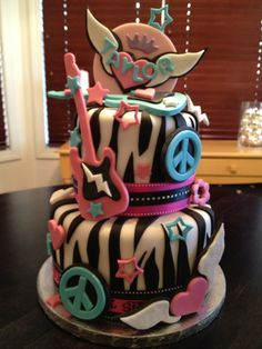 the rock star cake. Teen Cakes, Girl Cakes, Cupcakes, Cupcake Cakes, Rock Star Cakes, Extreme Cakes, Movie Cakes, Guitar Cake, Sweet 16 Cakes