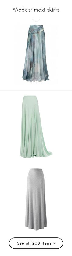 """""""Modest maxi skirts"""" by redcatrachel ❤ liked on Polyvore featuring skirts, matthew williamson, galaxy print skirts, chiffon skirt, ankle length skirts, blue chiffon skirt, bottoms, long skirts, maxi skirts and green"""