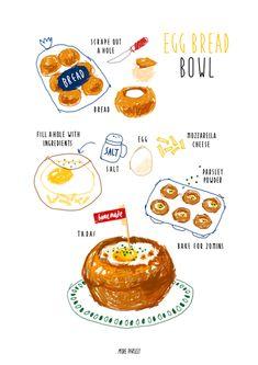 손그림/일러스트_ 계란빵 레시피 일러스트, 계란빵 만들기 / 계란빵 레시피 영국에서 가끔 만들어먹었던 계...