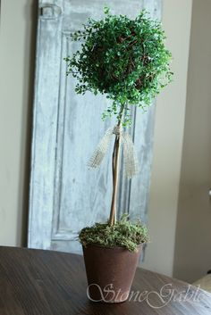 DIY Detailed Instructions to make a Rustic Topiary (large willow ball, artificial greens with small leaves).  For the stem use any straight stick from your garden, she used branch trimmings from her hydrangea bush and then used a furniture stain touch up marker to give the branches a richer brown color (brilliant idea!)