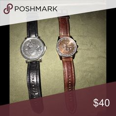 🆕 Men's Watches Selling these lovely fossil watches for men! They are used but overall in great condition. The brown one has a few mine scratches on the face. Leather bands can be changed based on preference. May just need some batteries. Fossil Accessories Watches