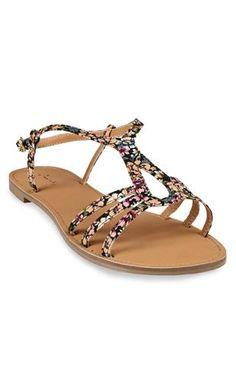 open toe flat #sandal with horseshoe strap $20.50