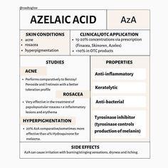 health skin care tips Skin Tips, Skin Care Tips, Azelaic Acid, Face Skin Care, Homemade Skin Care, Acne Skin, Skin Treatments, Skin Makeup, Organic Skin Care