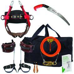 Arborist Basic Spur-Spike Kit w/Saddle,Flipline,Gear Bag,Great Starter Kit Hiking Tips, Camping And Hiking, Tree Climbing Equipment, Climbing Harness, Tree Felling, Art Of Manliness, Entry Level, Starter Kit, Gears