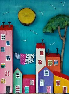 Driftwood Projects, Paper Towns, Paper Crafts, Diy Crafts, The Good Old Days, Anime Art Girl, House Painting, Mosaic Tiles, Mousse