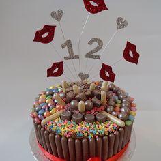 Piñata candy and chocolate birthday cake