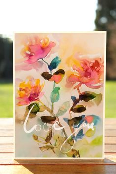 Postcards Illustration Watercolor art giclée print Vintage Roses Love You