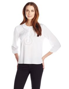 BCBGENERATION WOMEN'S EMBROIDERED HALF-PLACKET TOP............ Color: Optic White............. 100% Rayon............. Imported............. Machine Wash............. Crisp white blouse with Peter Pan collar featuring half placket flanked by embroidered-eyelet lace............. Bishop sleeves with elasticized wrists.............