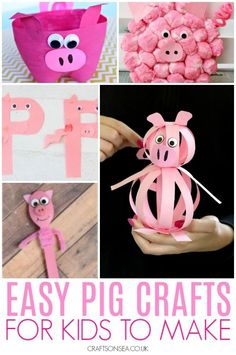 So today I'm sharing some easy and fun pig crafts for kids with you, mainly because I thought it would be a good idea with Chinese New Year on the way so that you can Crafts For Kids To Make, Art For Kids, Kid Art, 4 Kids, Fun Activities For Preschoolers, Children Activities, Sunday School Projects, Toddler Preschool, Preschool Winter