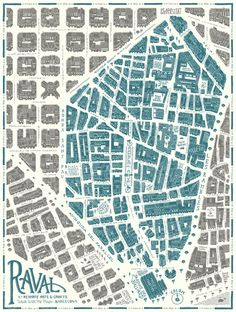 Design and illustration of the map of the Raval quarter in Barcelona for the project Walk With Me . Barcelona Architecture, Architecture Drawings, Urban Mapping, Walking Map, Urban Analysis, Map Globe, Map Design, Graphic Design, City Maps