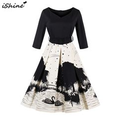 iShine Plus Size 4XL Women Ink Print Vintage Dress 2017 Hepburn Style Pin  Up Party Dresses 87d66623b4df