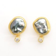 "Petra Class at Patina Gallery. Earrings, 22K and 18K Yellow Gold, Tahitian Keishi Pearl and Diamond (.2 cts), On Post, .63""x.4"""
