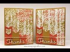 card making video tutorial .. Thanksgiving ... Stampin' Up! ... Sheltering Tree Over Woodland Embossing Folder ... luv the colors ...