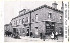 THE OLD Ship Hotel by Shepherd, Southend. - Good condition postcard posted Has a light 15 mm crease and a light 1 cm crease in the bottom right corner. Essex England, London Places, Old Photos, Old Things, Street View, Ship, History, Green, Old Pictures