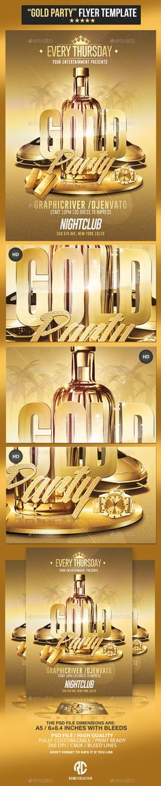 Gold Party | Psd Flyer Template — Photoshop PSD #trap music #new • Available here → https://graphicriver.net/item/gold-party-psd-flyer-template/11129405?ref=pxcr