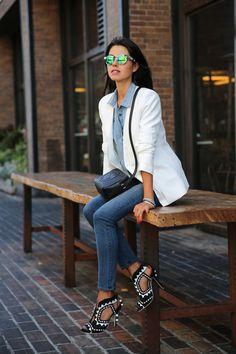 Denim Days #whiteblazer I want a white blazer.
