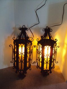 PAIR OF VINTAGE WROUGHT IRON GOTHIC MIDEVIL MID CENTURY HANGING LAMPS, ORNATE