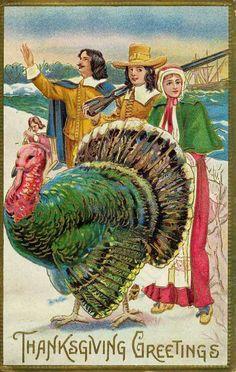 Pilgrims & Turkey Vintage Thanksgiving Postcard