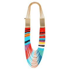 Masai Beaded Dual Plate Necklace, $115, now featured on Fab. Gorgeous, colorful piece that can go with simple single-colored tops.