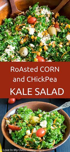Roasted corn and chickpeas tossed into fresh kale and lightly coated in a maple-lemon vinaigrette. via @loveinmyoven