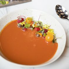 Tomato-Berry Gazpacho. Recipe from Chef Nate Whiting of Four Ninety-Two in Charleston, South Carolina. Photo by Callie Cranford.