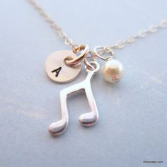 Sterling Silver Musical  Note Necklace - Music Jewelry - Music Gifts -  Musical Note Charm with Handstamped Monogram - Charm Chain