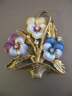 Vintage Enamel and Rhinestone Pansies Pin