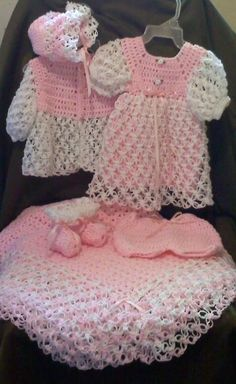 Crochet Baby Dress; (Sweater,Hat,Booties) or Afghan;Layette Set