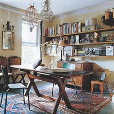 Wooden table and books: space to work
